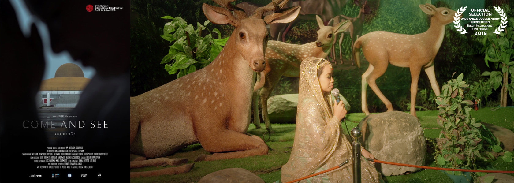 Young girl in lacy veil surrounded by deer - Come and See - THIS Buddhist Film Festival