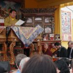 Sogyal Rinpoche giving Dharma talk on a high pedestal - Guru in Disgrace - THIS Buddhist Film Festival