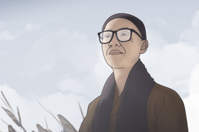 Master Sheng Yen wearing glasses and winter hat rendered in animation - Master Sheng Yen - THIS Buddhist Film Festival