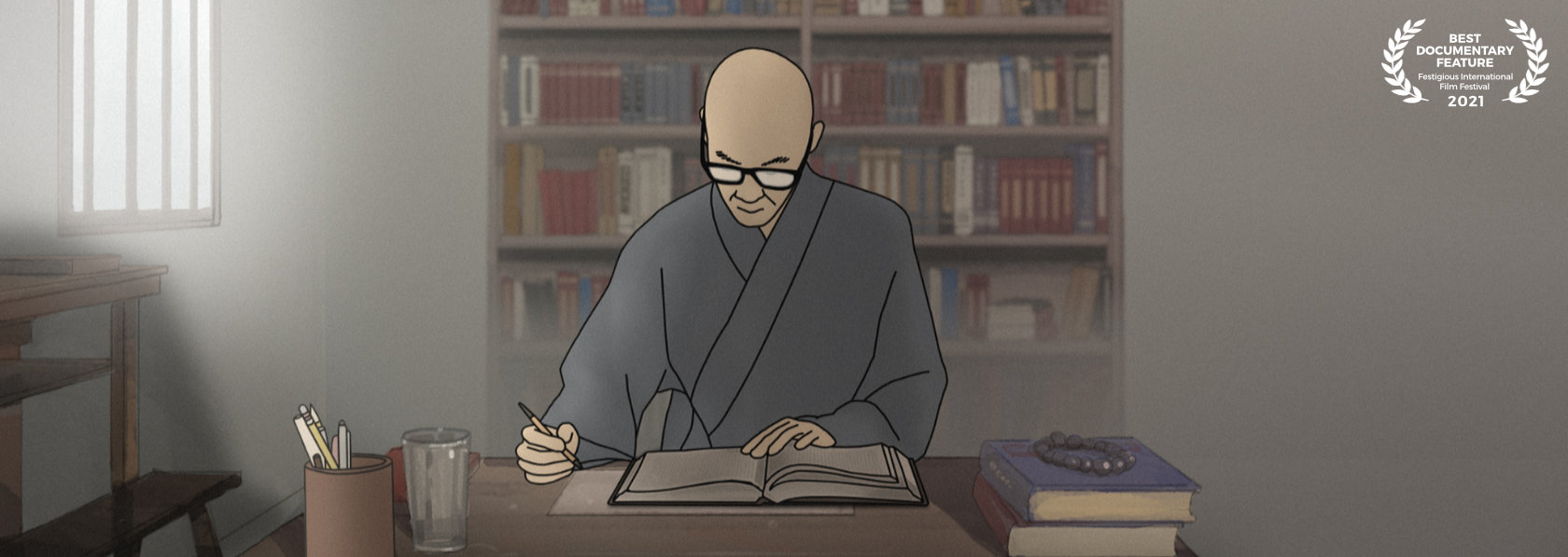 Master Sheng Yen writing on a book rendered in animation - Master Sheng Yen - THIS Buddhist Film Festival