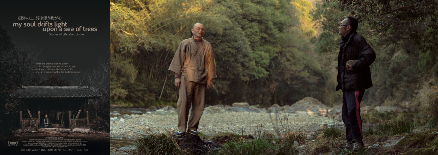 Zen monk talking to a man in a forest - My Soul Drifts Light Upon a Sea of Trees - THIS Buddhist Film Festival