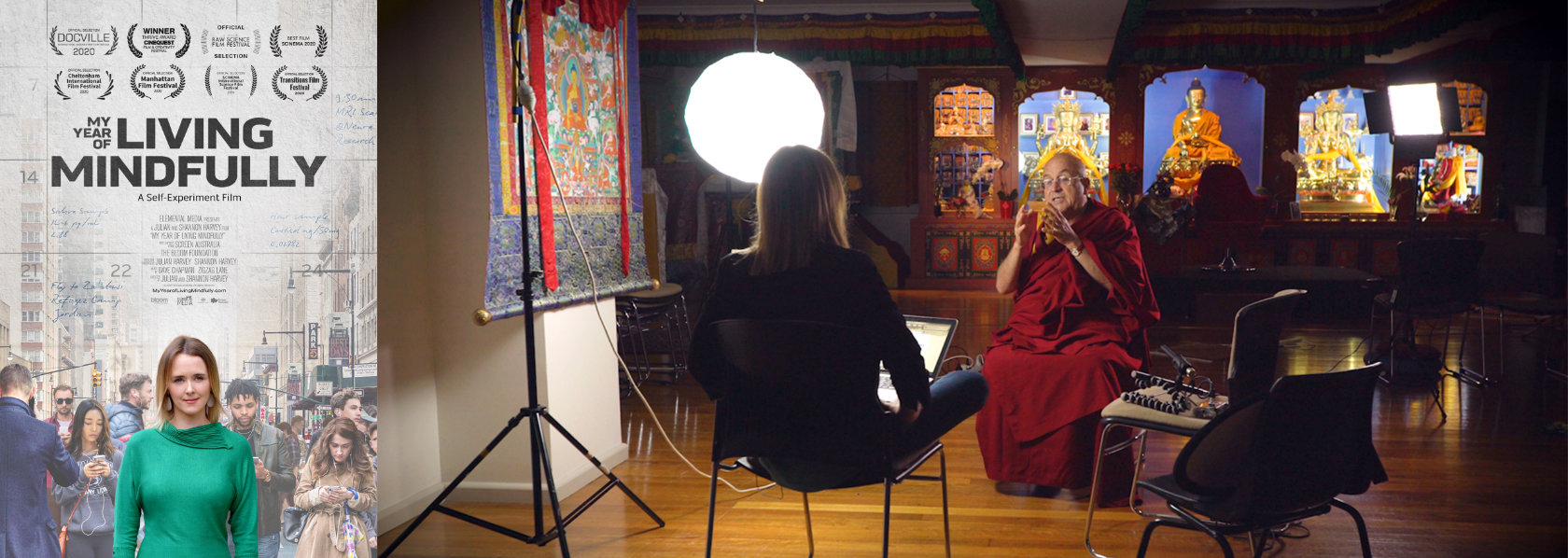 Matthieu Ricard doing an interview - My Year of Living Mindfully - THIS Buddhist Film Festival