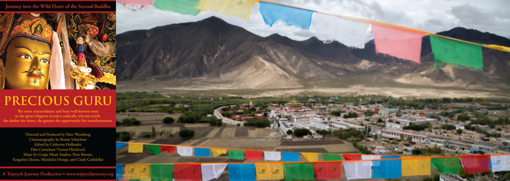 Landscape of mountain with temple and buddhist flags in foreground - Precious Guru - THIS Buddhist Film Festival