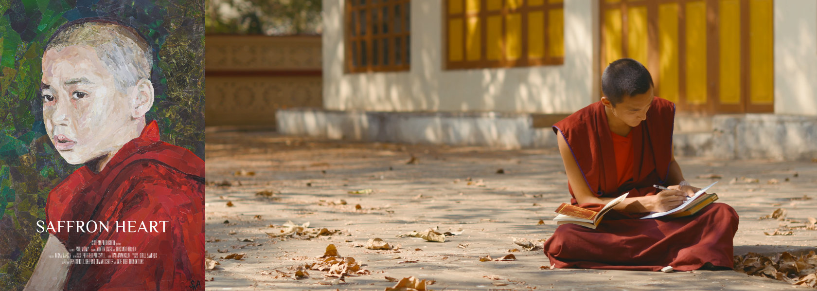 Young monk sitting outdoors writing - Saffron Heart - THIS Buddhist Film Festival