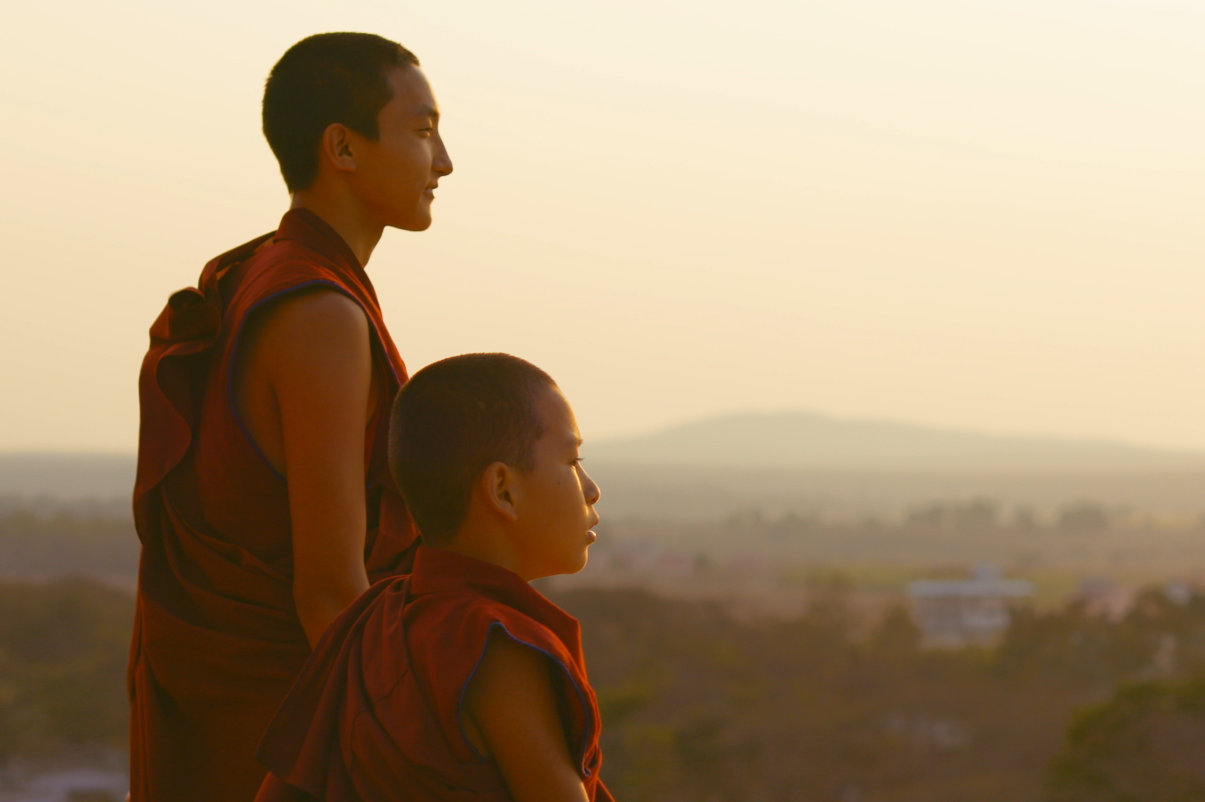 Two young monks looking at scenery - Saffron Heart - THIS Buddhist Film Festival