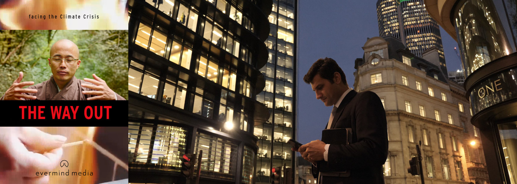 Man in a suit standing in front of office buildings - The Way Out - THIS Buddhist Film Festival