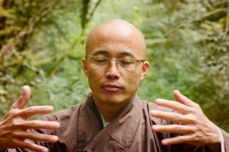 Zen monk meditating in a forest - The Way Out - THIS Buddhist Film Festival