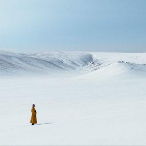 Lama standing in snow winter mountain - THISBFF - The Medicine Buddha